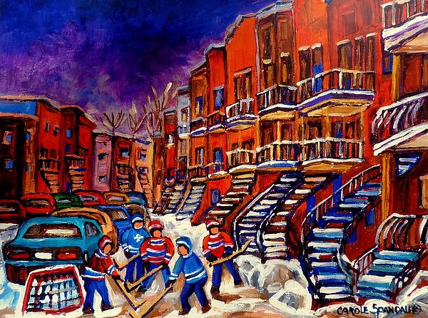 Montreal Street Scene Paintings Hockey On De Bullion Street   Print by Carole Spandau