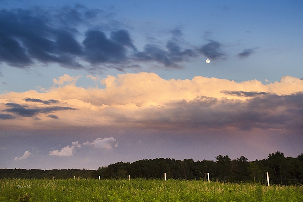 Moon Rise Over Country Fields Sunset Landscape Print by Christina Rollo