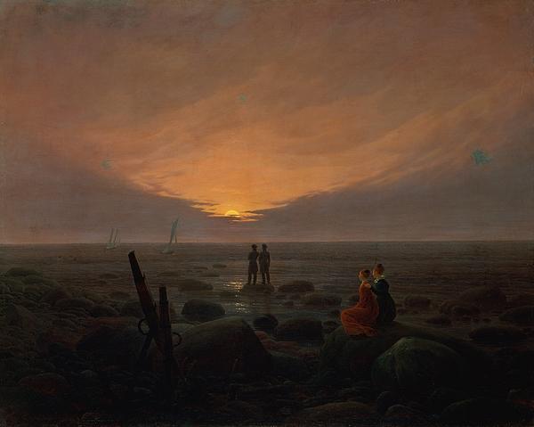 Moon Rising Over The Sea Print by Caspar David Friedrich