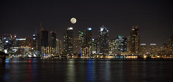 Moonrise Over San Diego Print by Sandra Bronstein