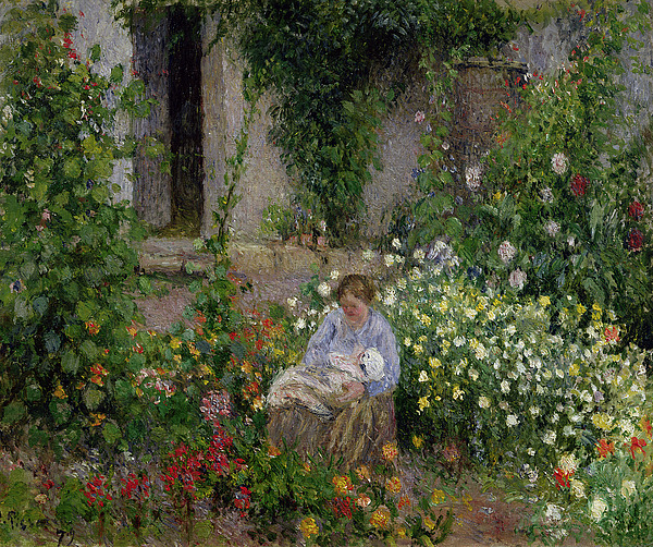 Mother And Child In The Flowers Print by Camille Pissarro