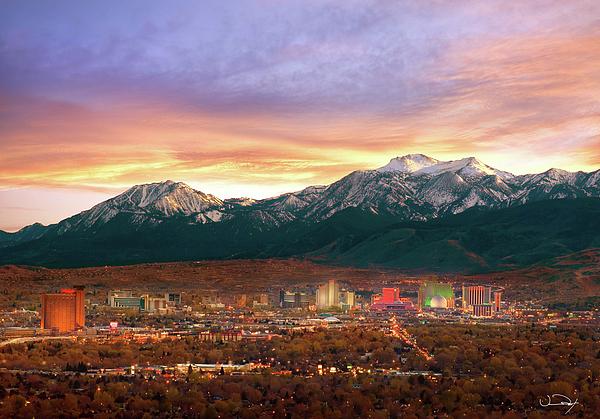 Mountain Twilight Of Reno Nevada Print by Vance Fox