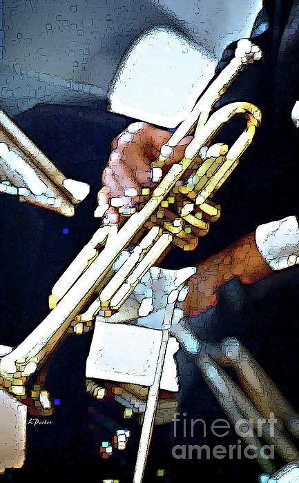 Music Man Trumpet Print by Linda  Parker