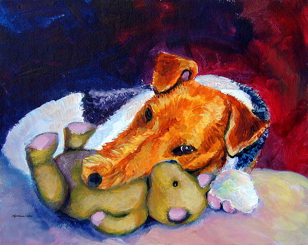 My Teddy - Wire Hair Fox Terrier Print by Lyn Cook