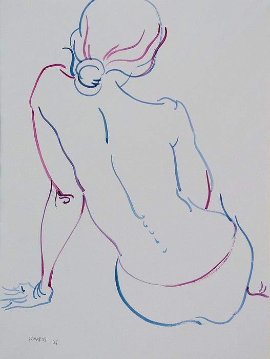 Naked Woman Sitting With Bare Back Print by Vitali Komarov