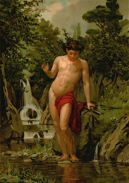 Narcissus In Love With His Own Reflection Print by Dionisio Baixeras-Verdaguer
