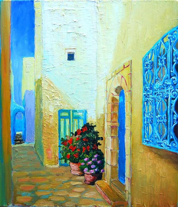 Narrow Street In Hammamet Print by Ana Maria Edulescu