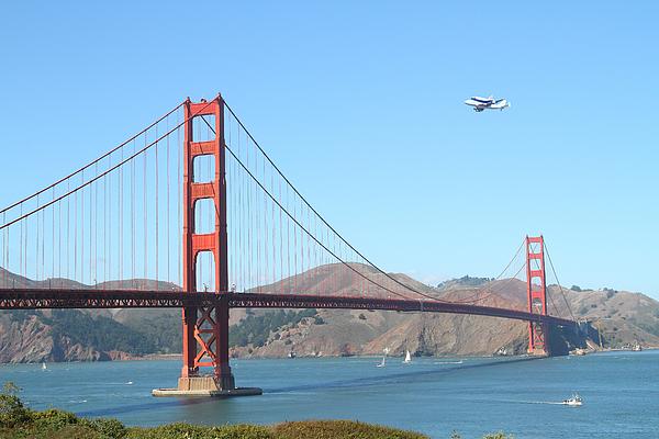 Nasa Space Shuttle's Final Hurrah Over The San Francisco Golden Gate Bridge Print by Wingsdomain Art and Photography