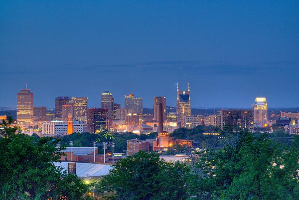 Nashville By Night 1 Print by Douglas Barnett