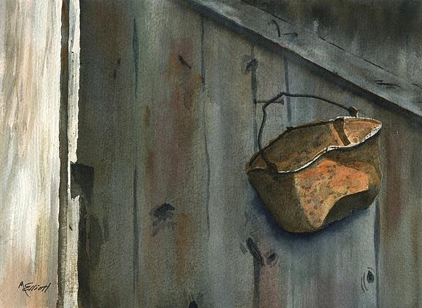 Neighbor Dons Rusted Kettle Print by Marsha Elliott