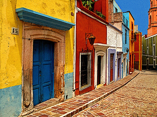 Neighbors Of The Yellow House Print by Olden Mexico