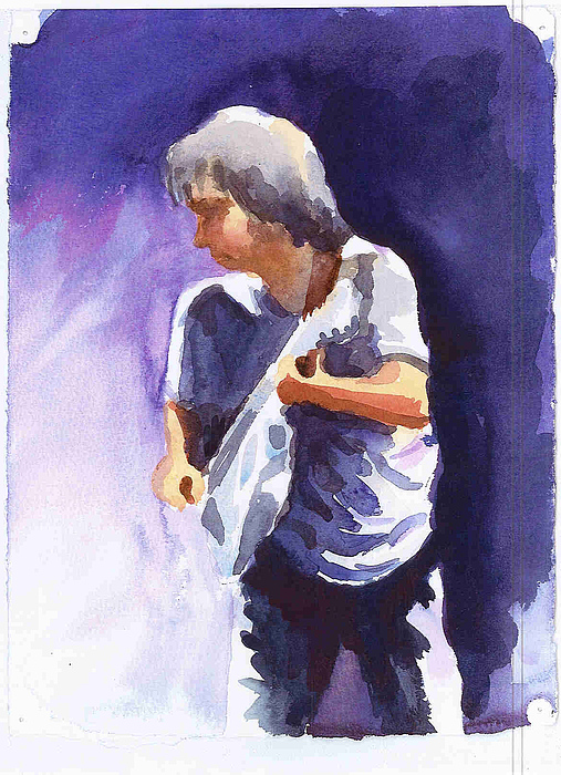 Neil Young With Gretsch White Falcon Print by Ken Daugherty