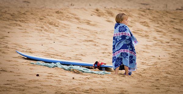 Never Too Young To Surf Print by Denis Dore