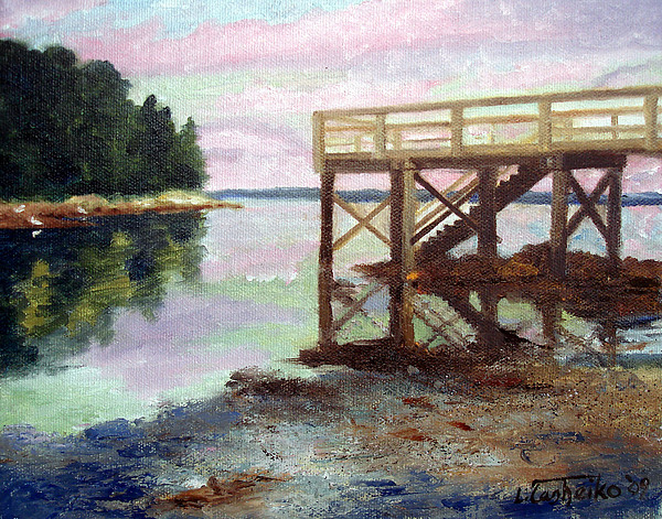 New Dock At Saturday Cove Beach Print by Laura Tasheiko