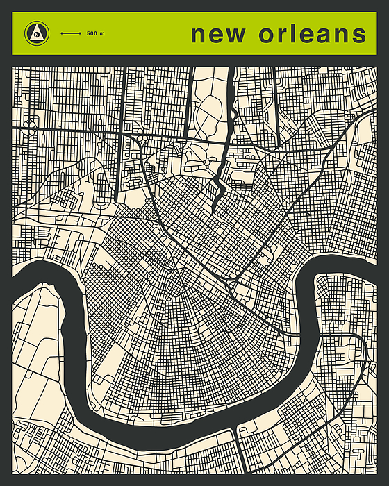 New York Taxi Street City Canvas Wall Art Picture Print Va: New Orleans Street Map By Jazzberry Blue