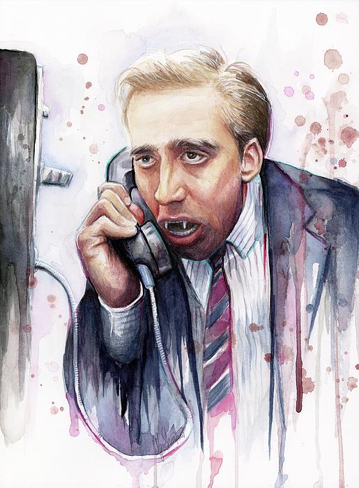 Nicolas Cage A Vampire's Kiss Watercolor Art Print by Olga Shvartsur