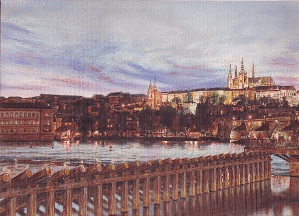Night View Of Charles Bridge And Prague Castle Print by Gordana Dokic Segedin