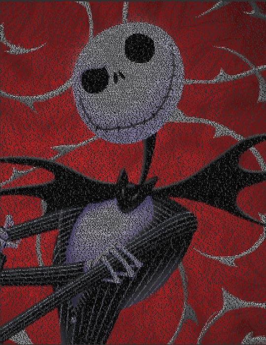 Nightmare Before Christmas Script Mosaic Print by Paul Van Scott