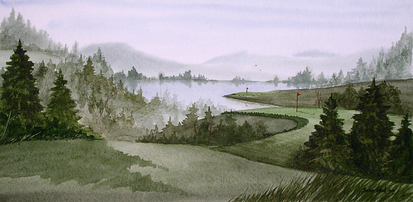 Northern Lake Golf Print by Sean Seal