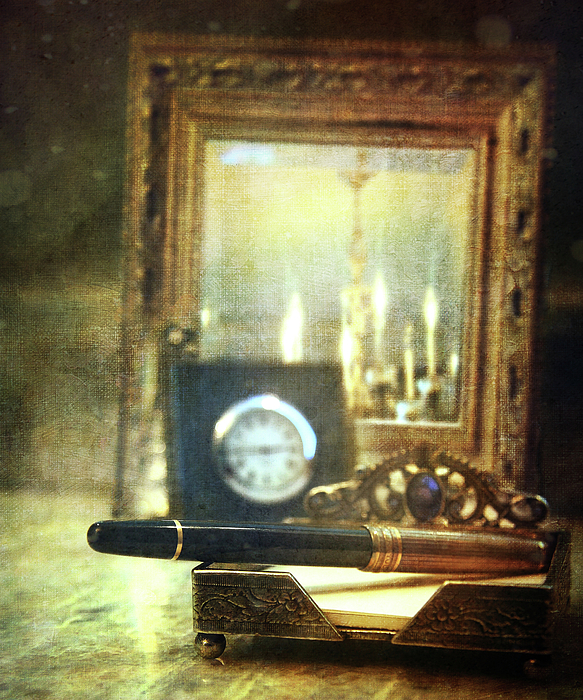 Nostalgic Still Life Of Writing Pen With Clock In Background Print by Sandra Cunningham