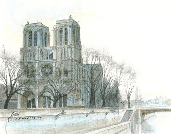 Notre Dame Cathedral In March Print by Dominic White