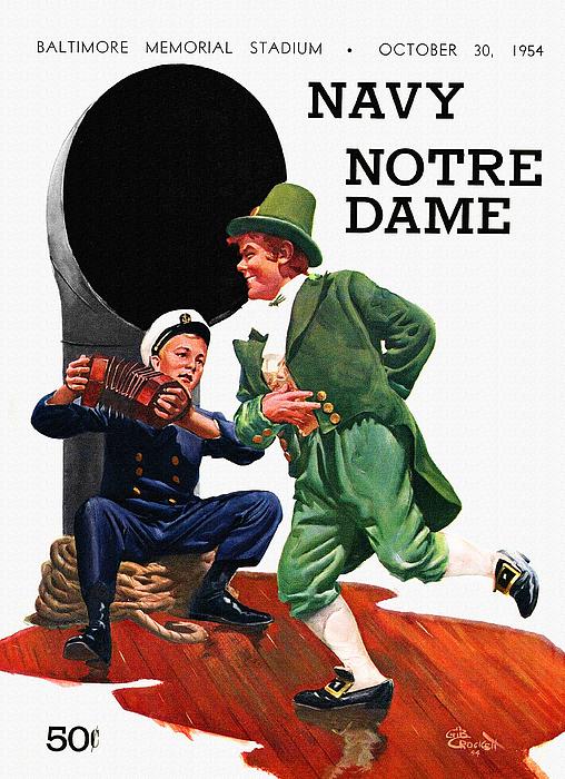 Notre Dame V Navy 1954 Vintage Program Print by Big 88 Artworks