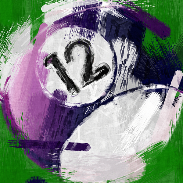 Number Twelve Billiards Ball Abstract Print by David G Paul