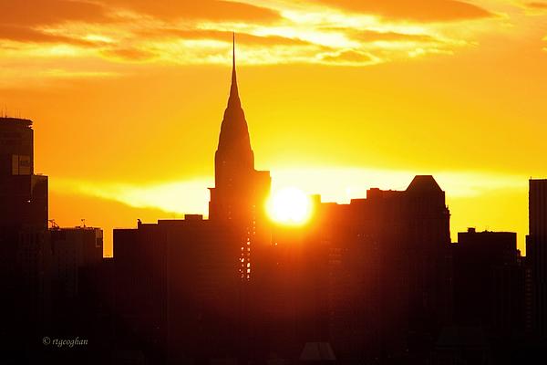 Ny Chrysler Building Sunrise Print by Regina Geoghan