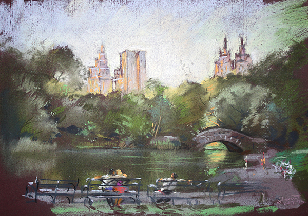 Nyc Resting In Central Park Print by Ylli Haruni