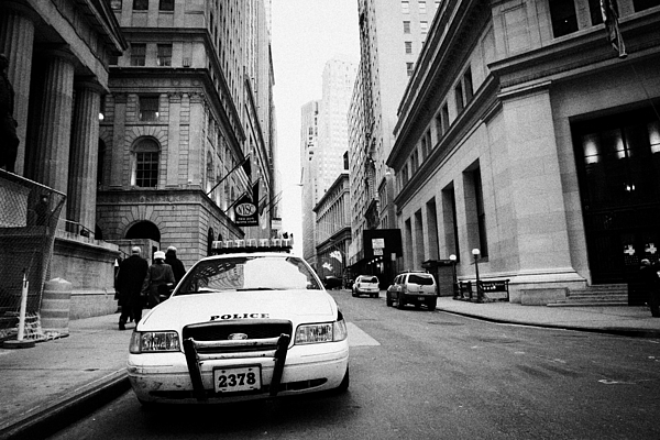 Nypd Police Patrol Car Parked In Wall Street Downtown New York City Print by Joe Fox