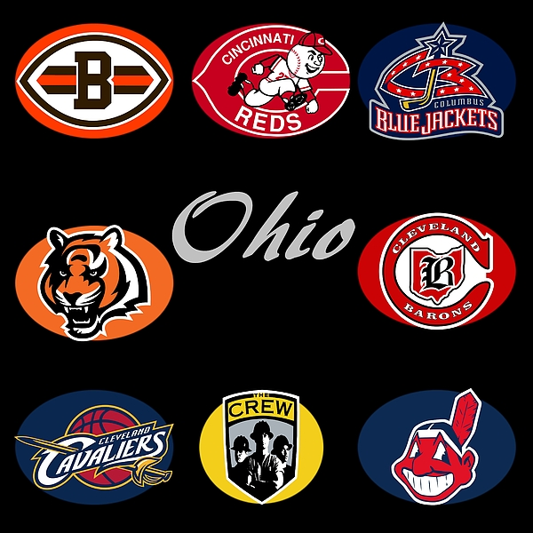Ohio Professional Sport Teams Collage Print by Movie Poster Prints