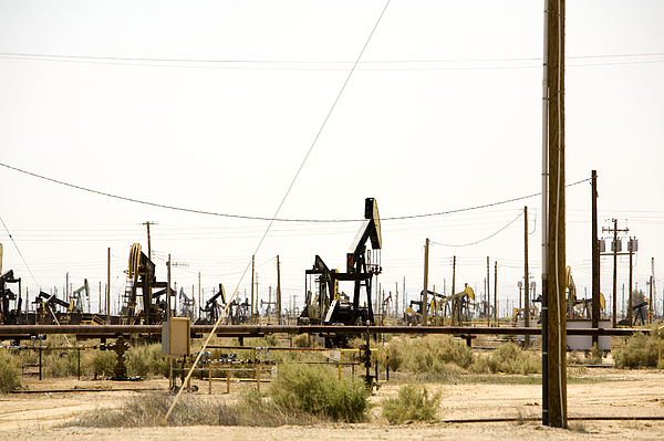 Oil Rigs, Lebec, Mojave Desert, California Print by Paul Edmondson