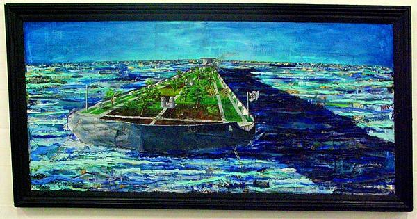 Oil Tanker Island Print by Samuel Miller