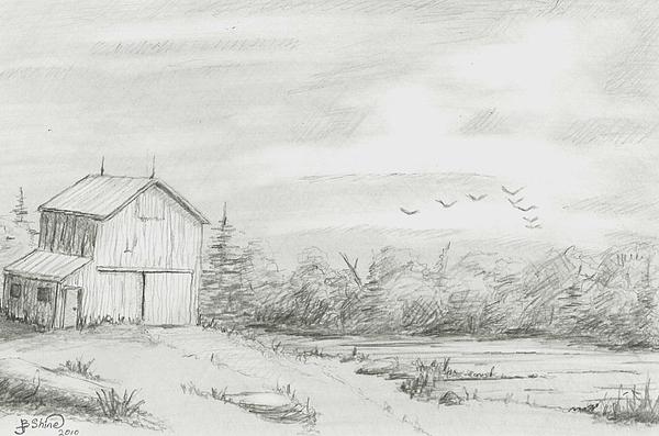 Old Barn 2 Print by BJ Shine