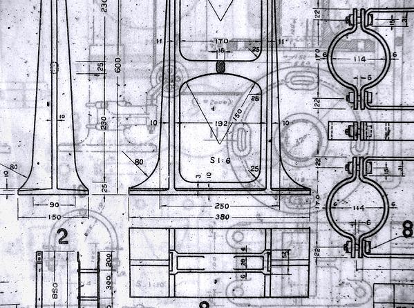 Old Blueprints Print by Yali Shi