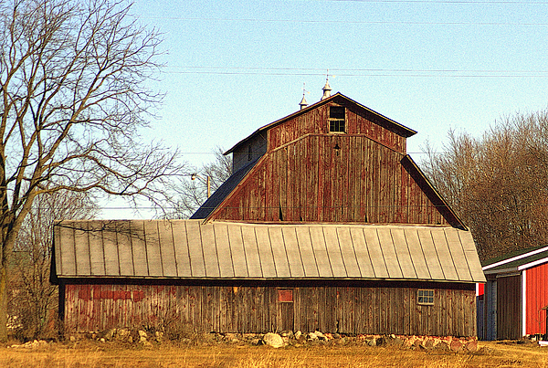 Old Faded Red Hip Roof Barn And Out Buildings By Rosemarie
