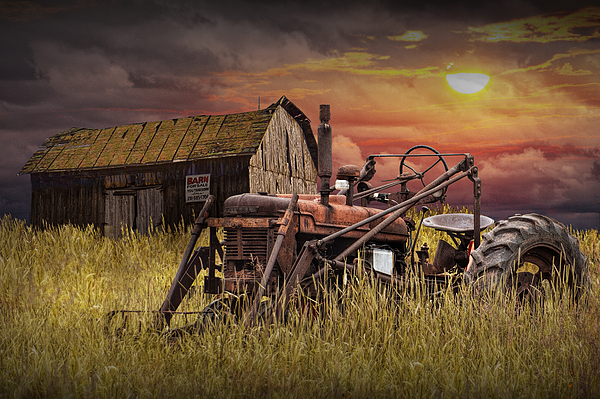 Metal Tractor Barns : Old farmall tractor with barn for sale print by randall nyhof