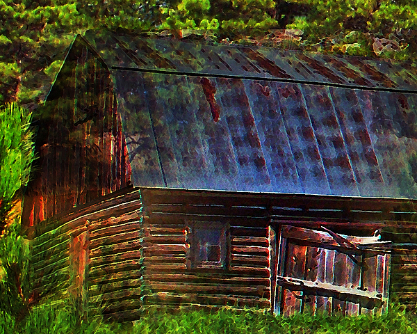 Old Horse Barn In The Pines Print by Terril Heilman