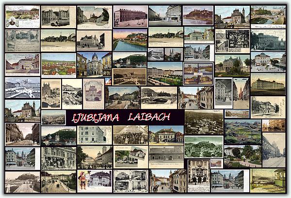 Old Ljubljana Collage Print by Janos Kovac