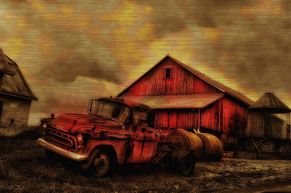 Old Red Truck And Barn Print by Bill Cannon