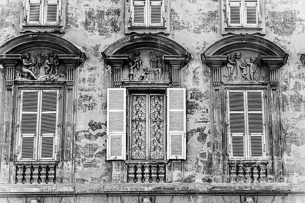 Liesl Walsh - Old Yellow Building With Lace Curtain in Nice, France, Black and