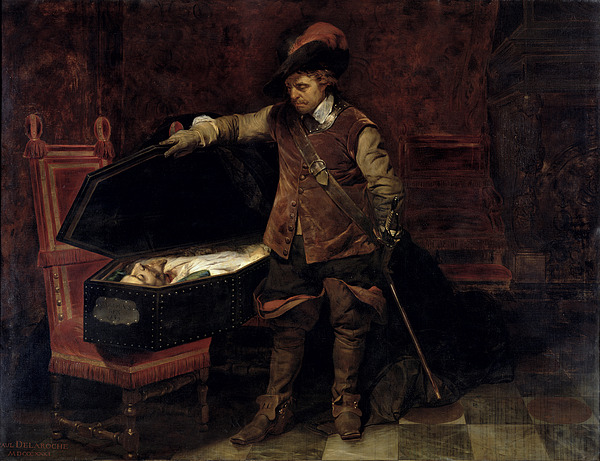 Oliver Cromwell Opening The Coffin Of Charles I Print by Hippolyte Delaroche