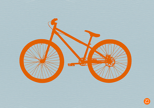 Orange Bicycle Print by Naxart Studio
