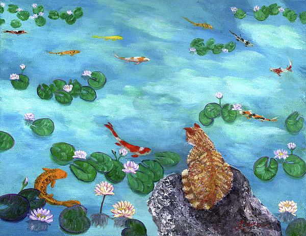 Orange Cat At Koi Pond Print by Laura Iverson