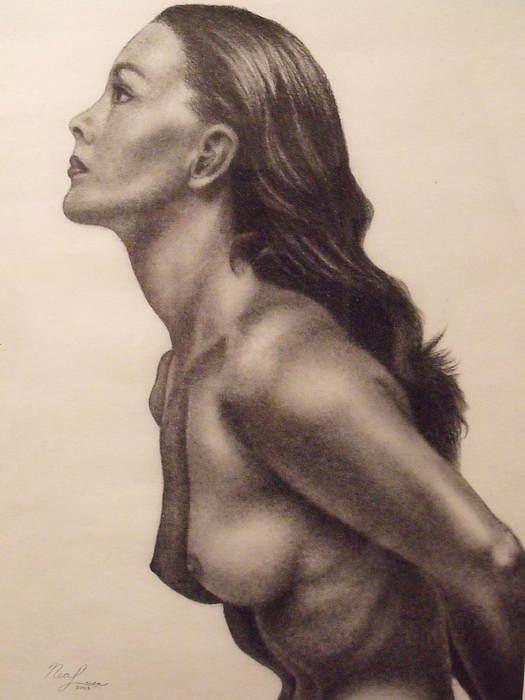 Original Charcoal Nude Female Profile Study Print by Neal Luea