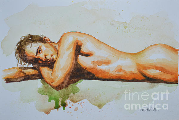 Hongtao     Huang - Original Watercolor Painting Artwork Male Nude Man Gay Interest On Paper #8-022