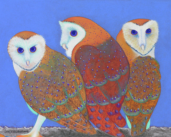 Parliament Of Owls Detail 2 Print by Tracy L Teeter