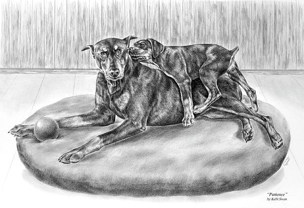 Patience - Doberman Pinscher And Puppy Print Print by Kelli Swan