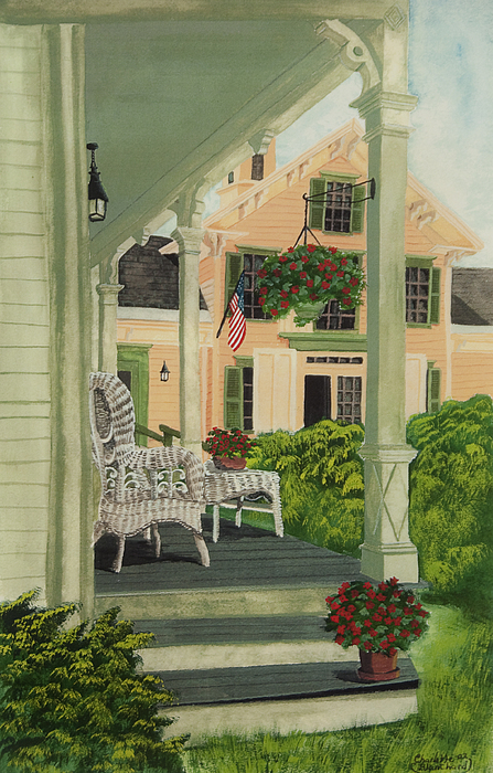 Patriotic Country Porch Print by Charlotte Blanchard