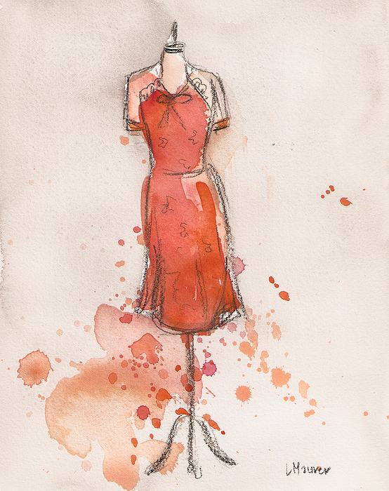 Peach And Orange Dress Print by Lauren Maurer